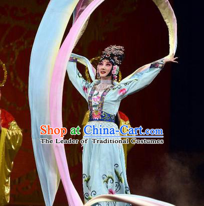 Traditional Chinese Beijing Opera Shaoxing Opera Young Female Water Sleeve Clothing, China Peking Opera Diva Role Hua Tan Costume Embroidered Opera Costumes