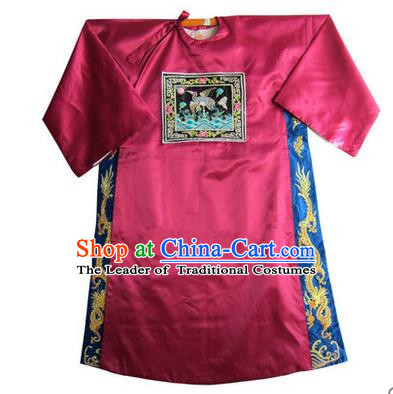 Traditional Chinese Beijing Opera Shaoxing Opera Magistrate Clothing, China Peking Opera Red Embroidered Robes
