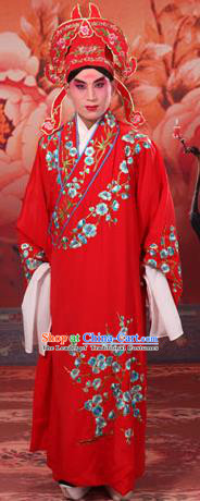 Traditional Chinese Beijing Opera Niche Red Dress Clothing and Boots Complete Set, China Peking Opera Young Men Costume Embroidered Wintersweet Robe Opera Costumes