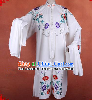 Traditional Chinese Beijing Opera Shaoxing Opera Young Female Clothing, China Peking Opera Diva Role Hua Tan Costume Embroidered Morning Glory Opera Costumes
