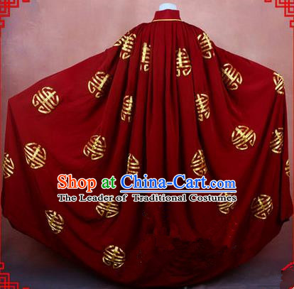 Traditional Chinese Beijing Opera Shaoxing Opera Young Lady Clothing Red Cloak, China Peking Opera Diva Role Hua Tan Costume Embroidered Longevity Mantle