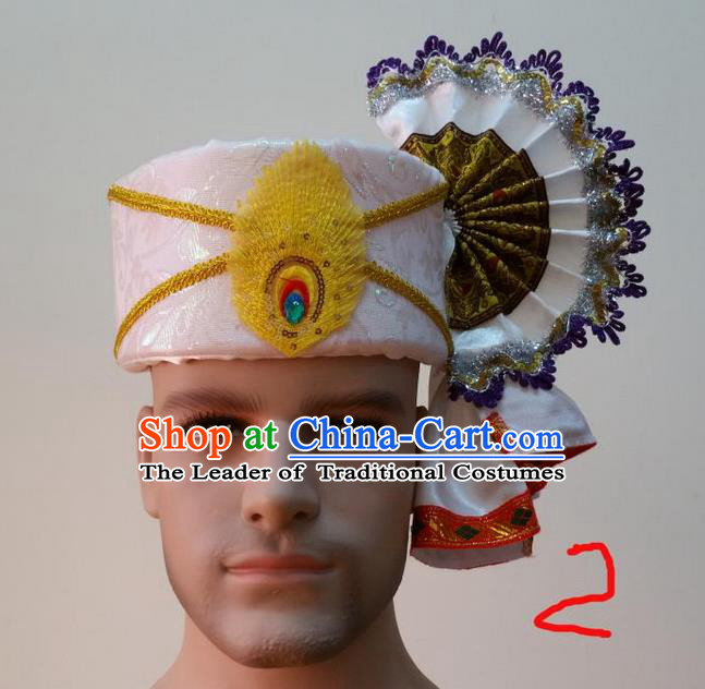 Traditional Traditional Thailand Accessories White Hat, Southeast Asia Thai Dai Nationality Headwear for Men