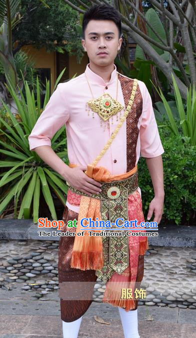 Traditional Traditional Thailand Male Clothing, Southeast Asia Thai Ancient Costumes Dai Nationality Pink Shirt and Pants for Men