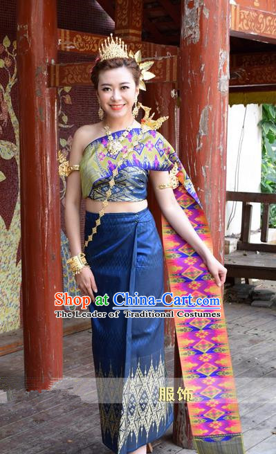 5344f582f Traditional Traditional Thailand Princess Clothing, Southeast Asia Thai  Ancient Costumes Dai Nationality Wedding Blue Sari Dress for Women