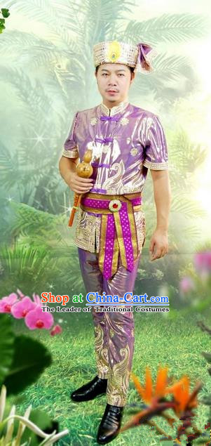 Traditional Traditional Thailand Male Clothing, Southeast Asia Thai Ancient Costumes Dai Nationality Purple Shirt and Pants Complete Set for Men