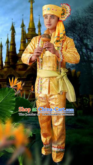 Traditional Traditional Thailand Male Clothing, Southeast Asia Thai Ancient Costumes Dai Nationality Golden Long Sleeve Shirt and Pants Complete Set for Men