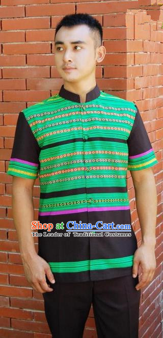 Traditional Traditional Thailand Male Clothing, Southeast Asia Thai Ancient Costumes Dai Nationality Green Shirt for Men