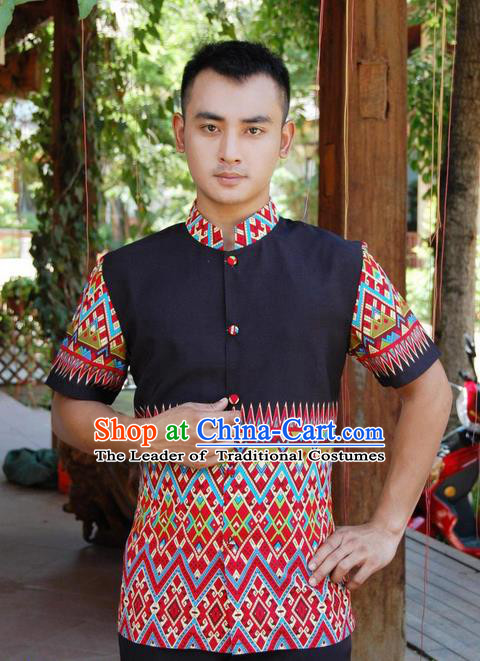 Traditional Traditional Thailand Male Clothing, Southeast Asia Thai Ancient Costumes Dai Nationality Printing Red Shirt for Men