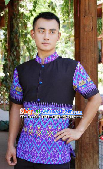 Traditional Traditional Thailand Male Clothing, Southeast Asia Thai Ancient Costumes Dai Nationality Printing Blue Shirt for Men