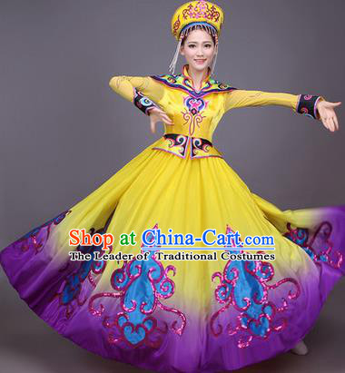 Traditional Chinese Mongol Nationality Dance Costume, Mongols Female Folk Dance Ethnic Pleated Skirt, Chinese Mongolian Minority Nationality Embroidery Dress for Women