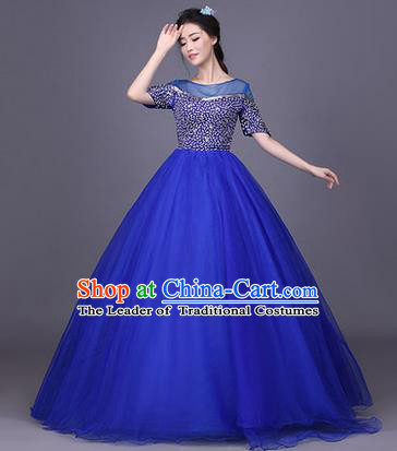 Traditional Chinese Modern Dance Compere Performance Costume, China Opening Dance Chorus Singing Group Clothing, Classical Dance Blue Bubble Dress for Women