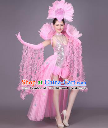 Traditional Chinese Modern Dance Performance Costume, China Opening Dance Samba Dance Clothing, Classical Dance Pink Dress for Women