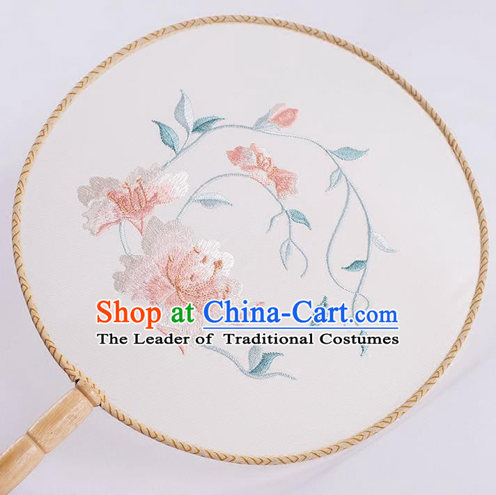 Traditional Chinese Ancient Silk Embroidered Peony Round Fans for Women