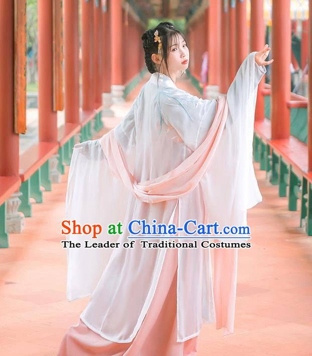 Traditional Chinese Tang Dynasty Palace Princess Costume, Elegant Hanfu Clothing Embroidered Wide Sleeve Cardigan, Chinese Ancient Princess Clothing for Women