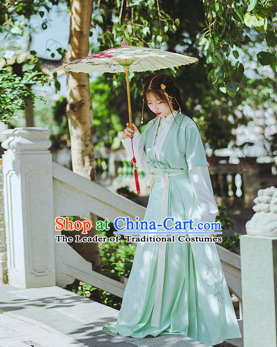 Traditional Chinese Song Dynasty Young Lady Costume Complete Set, Elegant Hanfu Clothing Embroidered Dress, Chinese Ancient Princess Clothing for Women