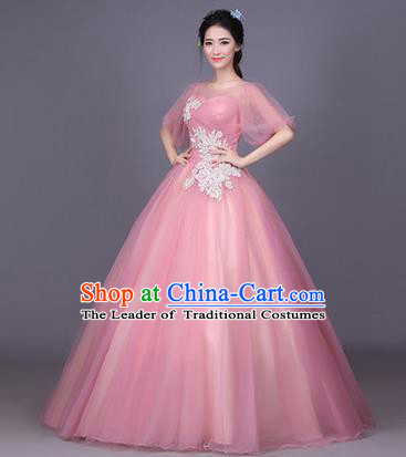 Traditional Chinese Modern Dance Performance Costume, China Opening Dance Full Dress, Classical Dance Pink Bubble Dress for Women