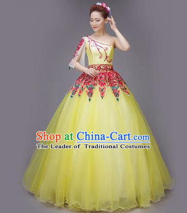 Traditional Chinese Modern Dance Compere Performance Costume, China Opening Dance Full Dress, Classical Dance Big Swing Yellow Veil Dress for Women