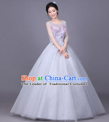 Traditional Chinese Modern Dance Compere Performance Costume, China Opening Dance Chorus Full Dress, Classical Dance Big Swing Grey Bubble Dress for Women