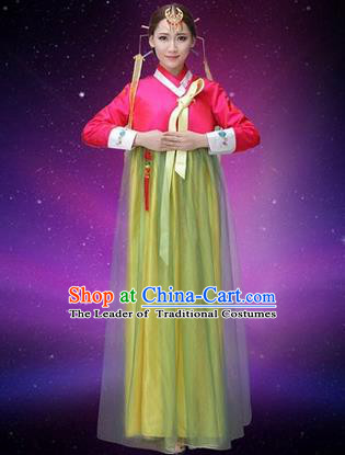 Traditional Korean Nationality Dance Costume, Chinese Minority Nationality Embroidery Hanbok Veil Dress for Women