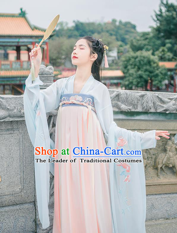 Traditional Chinese Tang Dynasty Imperial Princess Costume, Elegant Hanfu Clothing Chinese Ancient Young Lady Embroidered Ru Dress for Women