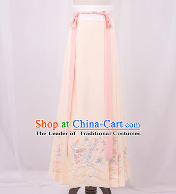 Traditional Chinese Ming Dynasty Young Lady Costume, Elegant Hanfu Clothing Embroidered Pink Horse-face Skirt, Chinese Ancient Princess Clothing for Women
