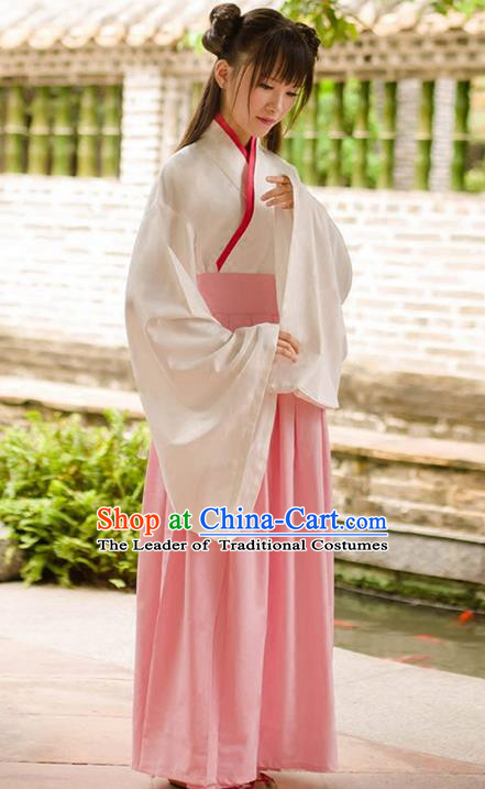Traditional Chinese Han Dynasty Palace Princess Costume, Elegant Hanfu Clothing Pink Middle-Skirt, Chinese Ancient Princess Clothing for Women
