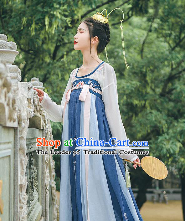 Traditional Chinese Tang Dynasty Palace Princess Costume, Elegant Hanfu Clothing Embroidered Blue Dress, Chinese Ancient Princess Clothing for Women