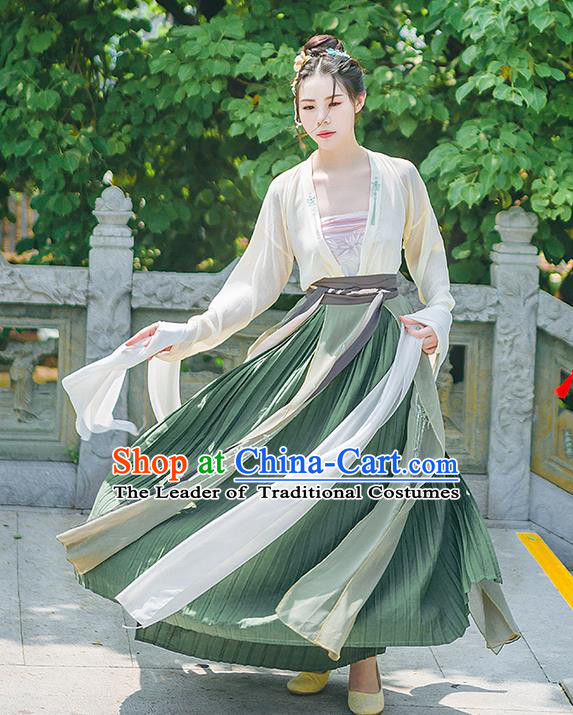 Traditional Chinese Tang Dynasty Palace Princess Costume, Elegant Hanfu Clothing Embroidered Blouse and Dress, Chinese Ancient Princess Clothing for Women