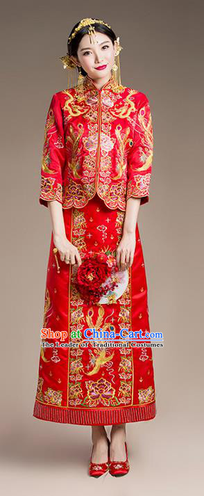 Traditional Chinese Wedding Costume Xiuhe Suits Wedding Bride Dress, Ancient Chinese Toast Dress Embroidered Dragon and Phoenix Clothing for Women