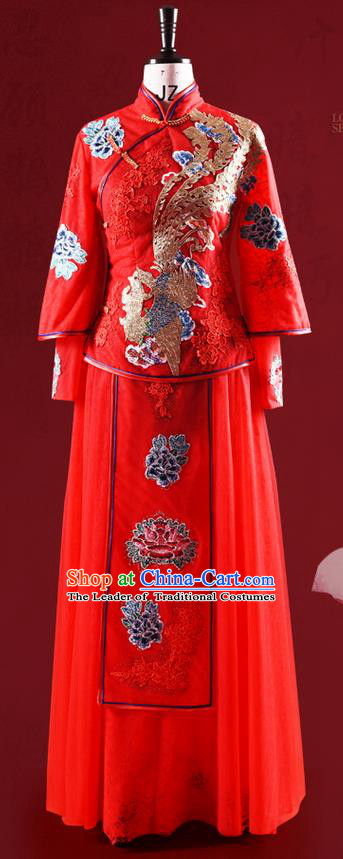 Traditional Chinese Wedding Costume XiuHe Suit Clothing Dragon and Phoenix Flown, Ancient Chinese Bride Embroidered Lace Cheongsam Dress for Women