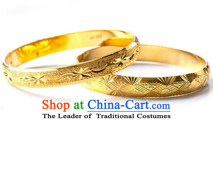 Traditional Chinese Wedding Gold Coating Bracelet, Ancient Chinese Bride Bangle for Women
