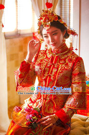 Traditional Chinese Wedding Costume Xiuhe Wedding Red Clothing Longfeng Flown, Ancient Chinese Bride Toast Embroidered Dress for Women