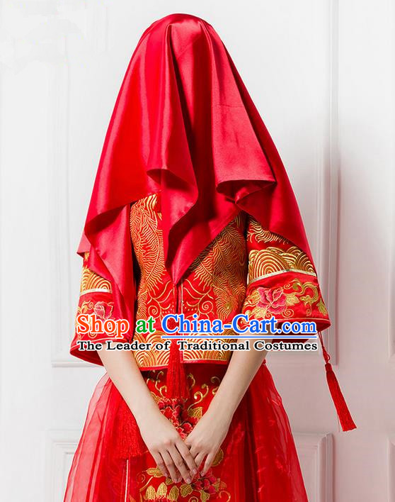 Traditional Chinese Wedding Costume Xiuhe Red Veil, Ancient Chinese Bride Embroidered Chinese Knot Red Head Cover for Women