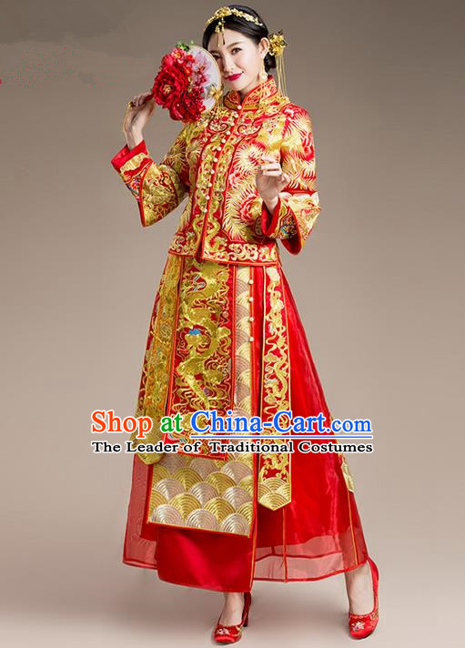 Traditional Chinese Wedding Costume Xiuhe Suit Clothing Dragon and Phoenix Flown, Ancient Chinese Bride Embroidered Cheongsam Dress for Women