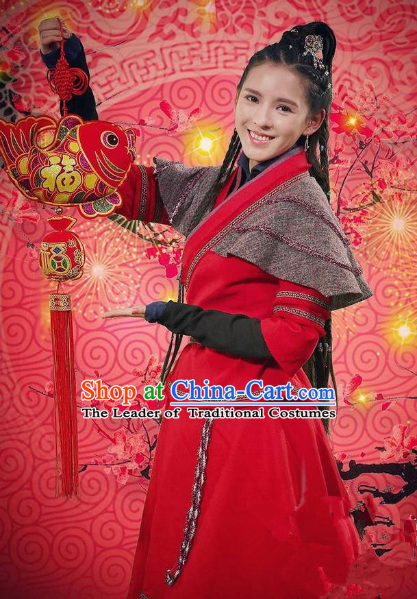 Traditional Chinese Song Dynasty Heroic Woman Costume, Chinese Ancient Hanfu Dress Jiang Hu Swordswoman Clothing for Women