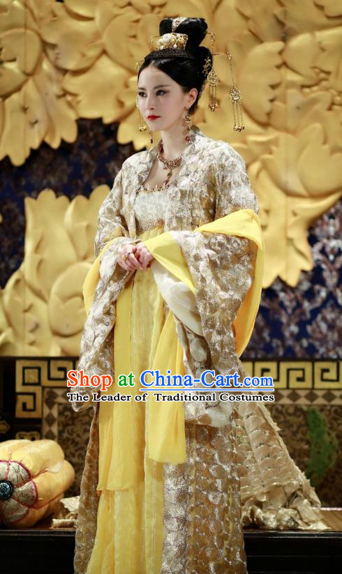 Traditional Ancient Chinese Imperial Consort Costume, Elegant Hanfu Clothing Chinese Tang Dynasty Imperial Empress Tailing Embroidered Dress for Women