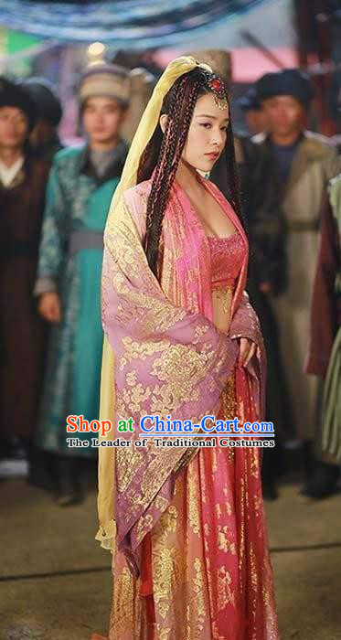 Traditional Ancient Chinese Palace Lady Dance Costume, Elegant Chinese Tang Dynasty Minority Princess Embroidered Dance Dress for Women