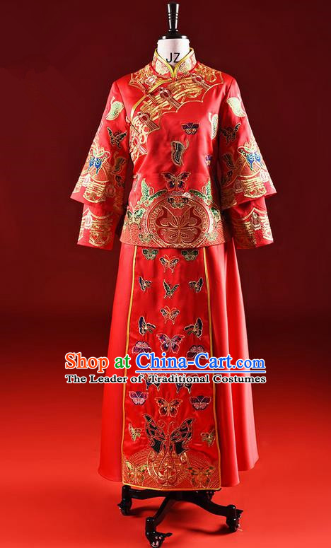 Traditional Chinese Wedding Costume XiuHe Suit Clothing Longfeng Flown Wedding Dress, Ancient Chinese Bride Hand Embroidered Butterfly Cheongsam Dress for Women