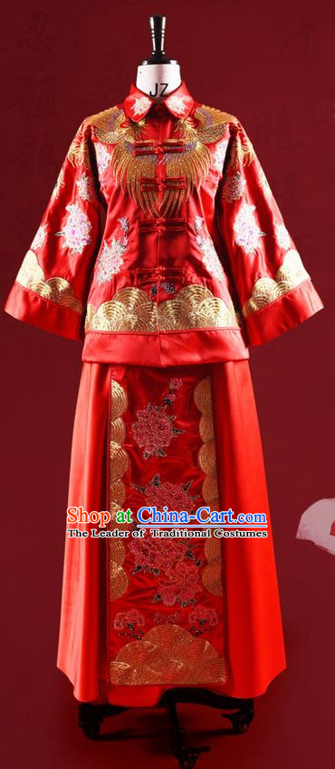 Traditional Chinese Wedding Costume XiuHe Suit Clothing Longfeng Flown Wedding Dress, Ancient Chinese Bride Hand Embroidered Peony Cheongsam Dress for Women