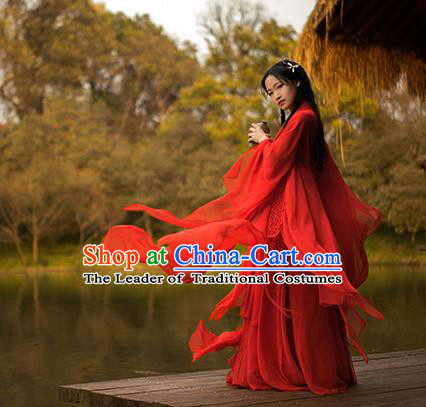 Traditional Chinese Swordswoman Costume, Elegant Hanfu Clothing Ancient Chinese Heroine Red Dress for Women