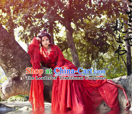 Traditional Chinese Swordswoman Costume, Elegant Hanfu Cosplay Clothing Ancient Chinese Heroine Red Dress for Women