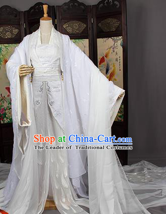 Traditional Chinese Tang Dynasty Swordswoman Costume, Elegant Hanfu Cosplay Palace Princess Clothing Ancient Chinese White Dress for Women