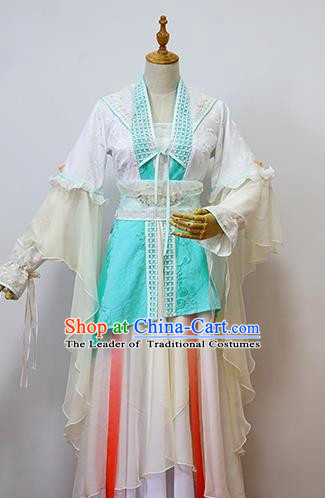 Traditional Chinese Tang Dynasty Young Lady Costume, Elegant Hanfu Cosplay Peri Clothing Ancient Chinese Princess Green Dress for Women