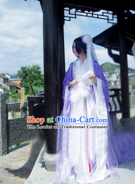 Traditional Chinese Cosplay Imperial Consort Costume, Chinese Ancient Hanfu Han Dynasty Imperial Princess Purple Dance Dress Clothing for Women
