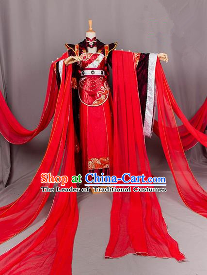 Traditional Chinese Tang Dynasty Imperial Prince Wedding Costume, Elegant Hanfu Cosplay Nobility Childe Clothing Ancient Chinese Dandies Dress for Men