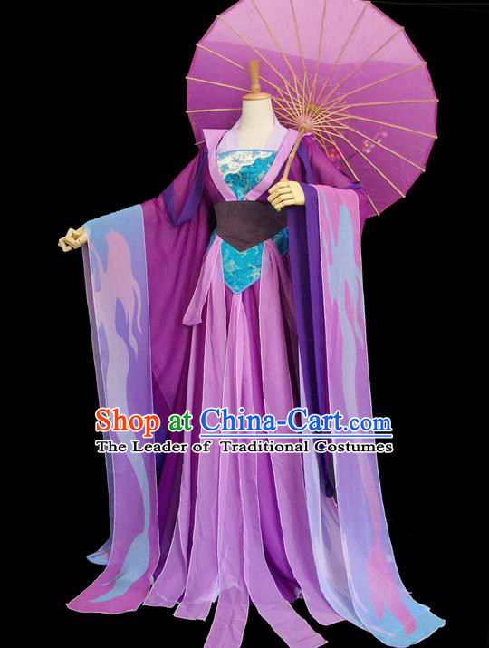 Traditional Chinese Cosplay Imperial Consort Costume, Chinese Ancient Hanfu Tang Dynasty Princess Purple Dress Clothing for Women