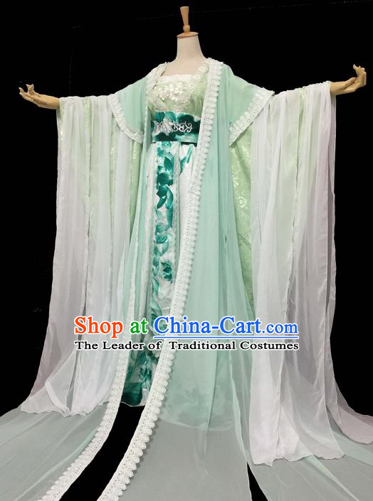 Traditional Chinese Cosplay Imperial Consort Fairy Costume, Chinese Ancient Ink Painting Plum Blossom Hanfu Tang Dynasty Princess Green Dress Clothing for Women
