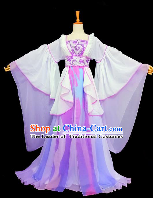 Traditional Chinese Tang Dynasty Imperial Princess Costume, Elegant Hanfu Clothing, Chinese Ancient Young Lady Purple Dress for Women