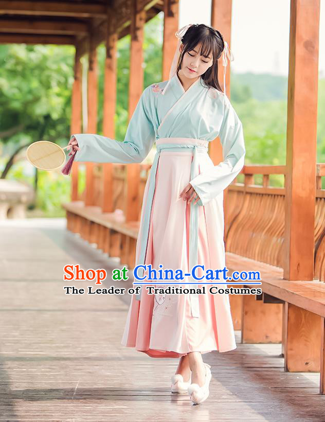 Traditional Chinese Han Dynasty Young Lady Costume, Elegant Hanfu Clothing Embroidered Blouse and Skirt, Chinese Ancient Imperial Princess Dress for Women