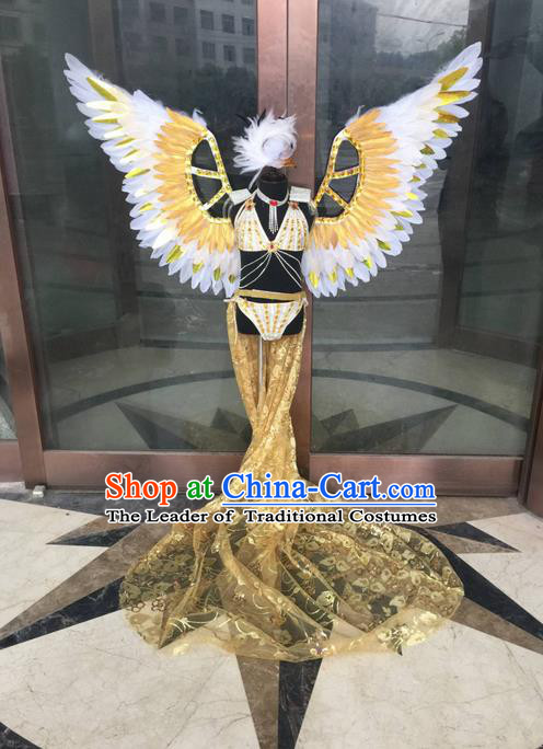Top Grade Compere Professional Performance Catwalks Costume, Traditional Brazilian Samba Dance Rio Carnival Props Feather Wings Modern Dance Fancywork Swimsuit Clothing for Kids